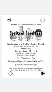 Northwest Area Spiritual Breakfast @ Reisterstown United Methodists Church | Reisterstown | Maryland | United States