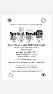 Northwest Area Spiritual Breakfast @ Reisterstown United Methodists Church | Reisterstown | Maryland | United States