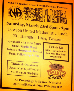 NEFA Spaghetti Dinner and Speaker Meeting @ Towson United Methodist Church | Towson | Maryland | United States
