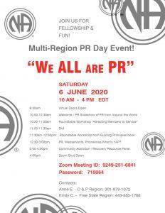""" We ALL are PR"" Multi-Region PR Day Event @ Online (ZOOM) ID: 9249-251-6841   Password: 710064 |  |  |"