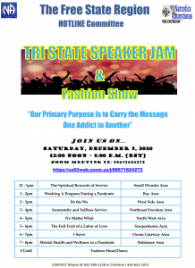 TRI STATE SPEAKER JAM & FASHION SHOW @ Zoom Meeting id: 88671624272