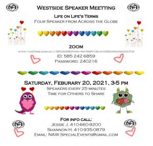 Life on Life's Terms Speaker Meeting @ Zoom Meeting id: 5852426859