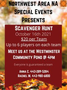 Northwest Area NA Scavenger Hunt @ Westminster Community Pong | Westminster | Maryland | United States