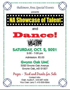 Baltimore Area Special Events presents NA SHOWCASE of TALENT & DANCE